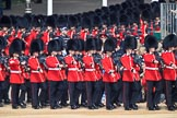 Number Six Guard, F Company, Scots Guards arrives first on Horse Guards Parade during Trooping the Colour 2018 followed bt Number Five Guard, Nijmegen Company, Grenadier Guards, during  The Queen's Birthday Parade at Horse Guards Parade, Westminster, London, 9 June 2018, 10:25.