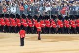 Number Six Guard, F Company, Scots Guards, led by The Subaltern, Captain William Dalton Hall (27),  during Trooping the Colour 2018, The Queen's Birthday Parade at Horse Guards Parade, Westminster, London, 9 June 2018, 10:25.