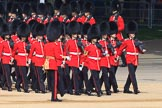 Number Five Guard, Nijmegen Company, Grenadier Guards, led by The Ensign, 2nd Lieutenant Felix Tracey, during Trooping the Colour 2018, The Queen's Birthday Parade at Horse Guards Parade, Westminster, London, 9 June 2018, 10:25.