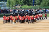 The Band of the Grenadier Guards, led by Drum Major Stephen Staite, Grenadier Guards, during Trooping the Colour 2018, The Queen's Birthday Parade at Horse Guards Parade, Westminster, London, 9 June 2018, 10:26.