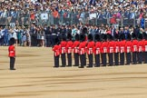 Number Six Guard, F Company, Scots Guards at their initial position on Horse Guards Parade, with Warrant Officer Class 2 (CSM) Nigel Heron, (33), on the left, during Trooping the Colour 2018, The Queen's Birthday Parade at Horse Guards Parade, Westminster, London, 9 June 2018, 10:26.