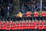 The Band of the Irish Guards, led by Drum Major Gareth Chambers, 1st Battalion Irish Guards, marching past the Youth Enclosure during Trooping the Colour 2018, The Queen's Birthday Parade at Horse Guards Parade, Westminster, London, 9 June 2018, 10:27.