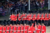 Number Four Guard, No 7 Company Coldstream Guards, led by The Subaltern, Captain James Potter (27), marching behind Number Five Guard, Nijmegen Company, Grenadier Guards during Trooping the Colour 2018, The Queen's Birthday Parade at Horse Guards Parade, Westminster, London, 9 June 2018, 10:27.