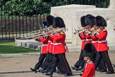 Musicians of the Band of the Irish Guards marching past the Guards Memorial during Trooping the Colour 2018, The Queen's Birthday Parade at Horse Guards Parade, Westminster, London, 9 June 2018, 10:28.