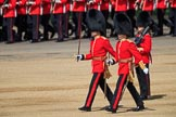 The Subaltern, Lieutenant Jake Sayers, Number Five Guard, Nijmegen Company, Grenadier Guards, and The Subaltern, Captain William Dalton Hall (27), Number Six Guard, F Company, Scots Guards, marching towards Horse Guards Arch during Trooping the Colour 2018, The Queen's Birthday Parade at Horse Guards Parade, Westminster, London, 9 June 2018, 10:28.