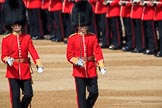 The Subaltern, Lieutenant Jake Sayers, Number Five Guard, Nijmegen Company, Grenadier Guards, and The Subaltern, Captain William Dalton Hall (27), Number Six Guard, F Company, Scots Guards, marching towards Horse Guards Arch during Trooping the Colour 2018, The Queen's Birthday Parade at Horse Guards Parade, Westminster, London, 9 June 2018, 10:29.