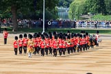 Drum Major Gareth Chambers, 1st Battalion Irish Guards leading the Band of the Irish Guards onto Horse Guards Parade during Trooping the Colour 2018, The Queen's Birthday Parade at Horse Guards Parade, Westminster, London, 9 June 2018, 10:29.