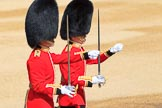 The Subaltern, Lieutenant Jake Sayers, Number Five Guard, Nijmegen Company, Grenadier Guards, and The Subaltern, Captain William Dalton Hall (27), Number Six Guard, F Company, Scots Guards, marching towards Horse Guards Arch during Trooping the Colour 2018, The Queen's Birthday Parade at Horse Guards Parade, Westminster, London, 9 June 2018, 10:30.