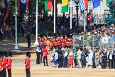 The Band of the Coldstream Guards marching onto Horse Guards Parade during Trooping the Colour 2018, The Queen's Birthday Parade at Horse Guards Parade, Westminster, London, 9 June 2018, 10:30.