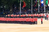 The Band of the Coldstream Guards marching behind Number Five Guard, Nijmegen Company, Grenadier Guards during Trooping the Colour 2018, The Queen's Birthday Parade at Horse Guards Parade, Westminster, London, 9 June 2018, 10:30.