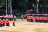 The Band of the Coldstream Guards is immediately followed by Number Three Guard, 1st Battalion Coldstream Guards during Trooping the Colour 2018, The Queen's Birthday Parade at Horse Guards Parade, Westminster, London, 9 June 2018, 10:31.