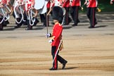 The Subaltern, Captain James Potter (27), Number Four Guard, No 7 Company Coldstream Guards, marching to meet the Subaltern of Number Three Guard during Trooping the Colour 2018, The Queen's Birthday Parade at Horse Guards Parade, Westminster, London, 9 June 2018, 10:31.