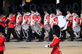 Drummers of Band of the Coldstream Guards marching onto Horse Guards Parade during Trooping the Colour 2018, The Queen's Birthday Parade at Horse Guards Parade, Westminster, London, 9 June 2018, 10:31.