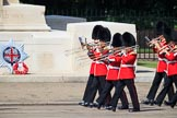 The Band of the Coldstream Guards marching past the Guards Memorial during Trooping the Colour 2018, The Queen's Birthday Parade at Horse Guards Parade, Westminster, London, 9 June 2018, 10:31.