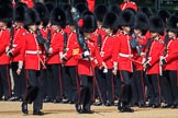 The Colour Party, Colour Sentry Guardsman Jonathon Hughes (26), Colour Sergeant Sam McAuley (31), and Colour Sentry Guardsman Sean Cunningham (21) marching towards their position on Horse Guards Parade during Trooping the Colour 2018, The Queen's Birthday Parade at Horse Guards Parade, Westminster, London, 9 June 2018, 10:31.