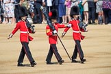 The Colour Party, Colour Sentry Guardsman Jonathon Hughes (26), Colour Sergeant Sam McAuley (31), and Colour Sentry Guardsman Sean Cunningham (21) marching towards their position on Horse Guards Parade during Trooping the Colour 2018, The Queen's Birthday Parade at Horse Guards Parade, Westminster, London, 9 June 2018, 10:32.