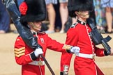 Colour Sergeant Sam McAuley (31) with the encased Colour, and Colour Sentry Guardsman Sean Cunningham (21) during Trooping the Colour 2018, The Queen's Birthday Parade at Horse Guards Parade, Westminster, London, 9 June 2018, 10:32.