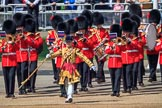 Drum Major Liam Rowley, 1st Battalion Coldstream Guards  leading the Band of the Coldstream Guards onto Horse Guards Parade during Trooping the Colour 2018, The Queen's Birthday Parade at Horse Guards Parade, Westminster, London, 9 June 2018, 10:32.