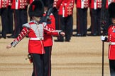 Duty Drummer Sam Orchard approaching the Colour Party, to help uncasing the Colour, during Trooping the Colour 2018, The Queen's Birthday Parade at Horse Guards Parade, Westminster, London, 9 June 2018, 10:33.
