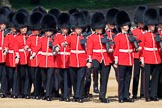 Number Five Guard, Nijmegen Company, Grenadier Guards changing formation during Trooping the Colour 2018, The Queen's Birthday Parade at Horse Guards Parade, Westminster, London, 9 June 2018, 10:36.