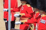The Subaltern, Captain HCC Bucknall, The Ensign, 2nd Lieutenant J Boggis-Rolfe, and The Captain of the Guard, Major JW Coleby, all Escort to the Colour, 1st Battalion Coldstream Guards, marching from Horse Guards Arch to their guard during Trooping the Colour 2018, The Queen's Birthday Parade at Horse Guards Parade, Westminster, London, 9 June 2018, 10:37.