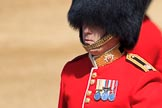 The Parade Major, Major OJ Biggs, riding out onto Horse Guards Parade, during Trooping the Colour 2018, The Queen's Birthday Parade at Horse Guards Parade, Westminster, London, 9 June 2018, 10:38.
