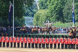 The The King's Troop Royal Horse Artillery arrives to take their positions near St James's Park during Trooping the Colour 2018, The Queen's Birthday Parade at Horse Guards Parade, Westminster, London, 9 June 2018, 10:38.