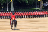 The Parade Major, Major OJ Biggs is greeting the troops during Trooping the Colour 2018, The Queen's Birthday Parade at Horse Guards Parade, Westminster, London, 9 June 2018, 10:39.