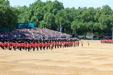 The Massed Bands in position on the Downing Street side of Horse Guards Parade during Trooping the Colour 2018, The Queen's Birthday Parade at Horse Guards Parade, Westminster, London, 9 June 2018, 10:39.