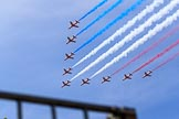 Trooping the Colour 2018: The Red Arrows over Horse Guards Parade during the RAF Flypast. Horse Guards Parade, Westminster, London,  United Kingdom, on 09 June 2018 at 13:02, image #940